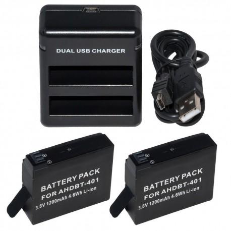 Pack cargador doble con 2 baterías para H4